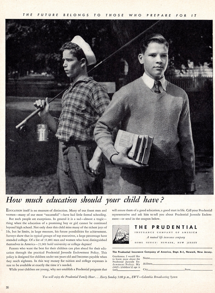 1945 THE PRUDENTIAL INSURANCE PRINT AD. Life