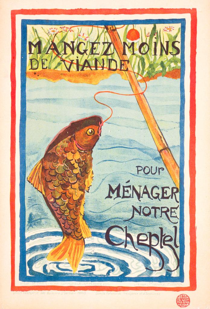 """""""Mangez Moins de viande pour ménager notre cheptel"""" - Concours de dessin sur les économies de guerre, affiche éditée à partir du dessin réalisé par l'élève Marthe Picard 16 ans, 1916 - 55 x 37 cm"""