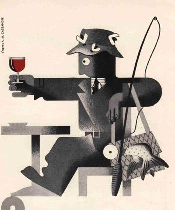 Pub Pêcheur Dubonnet - Illustration A.M. Cassandre