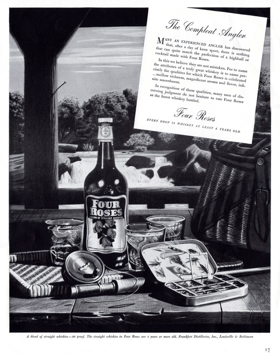 FLY FISHERMAN'S PARADISE IN 1940 FOUR ROSES WHISKEY AD